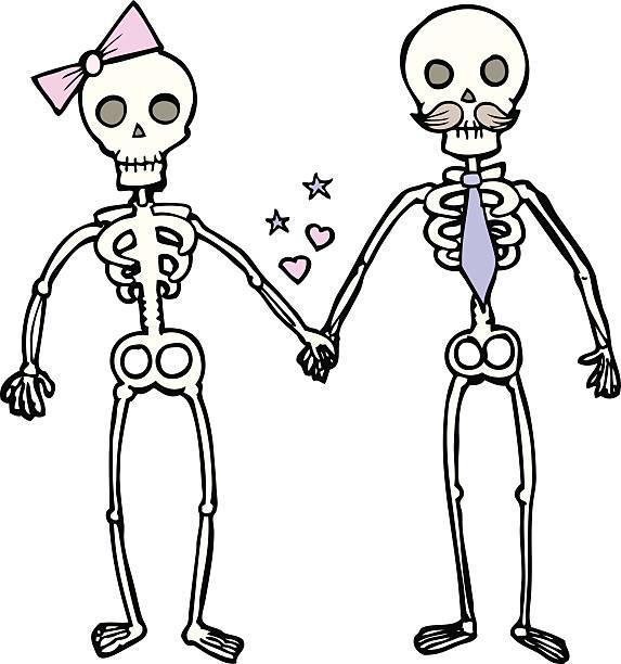 cartoon skeletons in love - til death do us part stock illustrations, clip art, cartoons, & icons