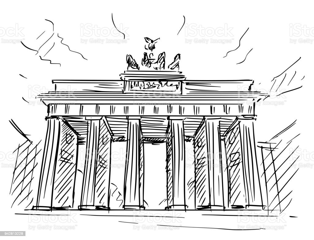 Cartoon-Skizze des Brandenburger Tor, Berlin, Deutschland – Vektorgrafik