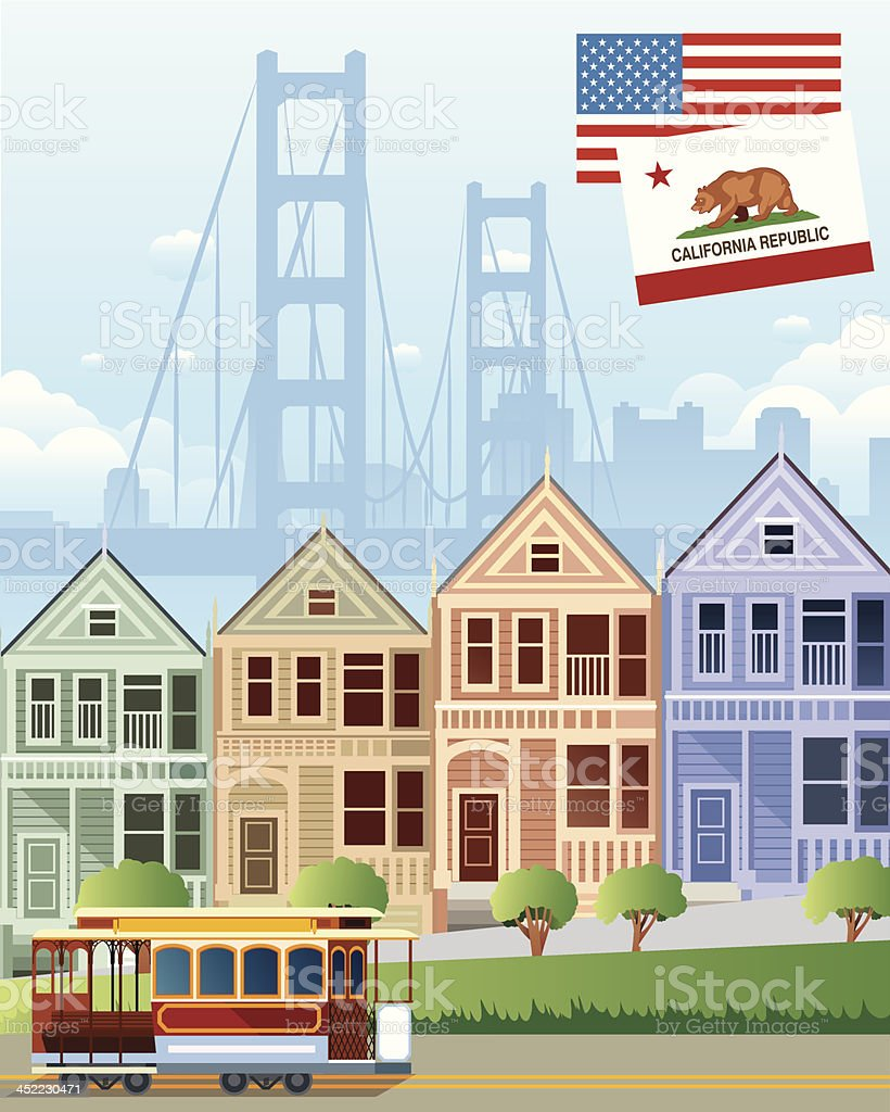 Cartoon sketch of San Francisco houses and a trolley vector art illustration