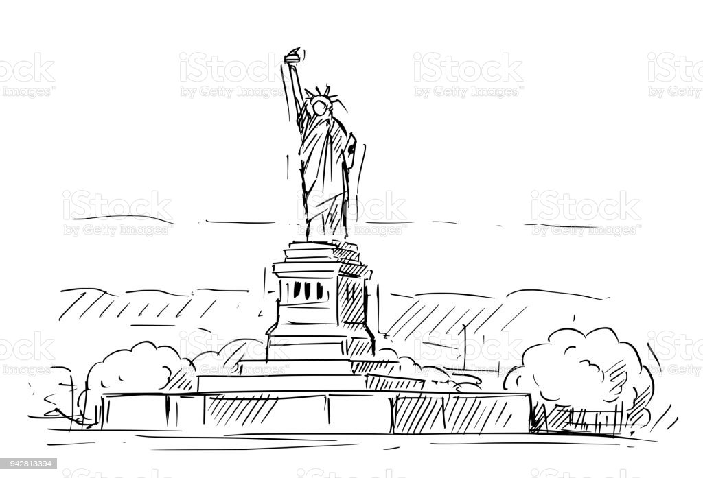 Cartoon Sketch Of The Statue Of