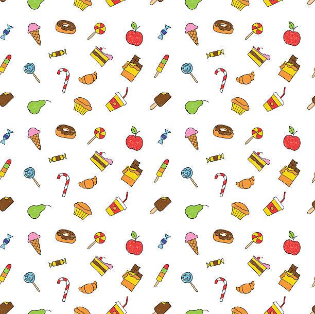 comic skizze muster und kritzeleien set: kinder hand zeichnung leckere speisen. - schulbedarfskuchen stock-grafiken, -clipart, -cartoons und -symbole
