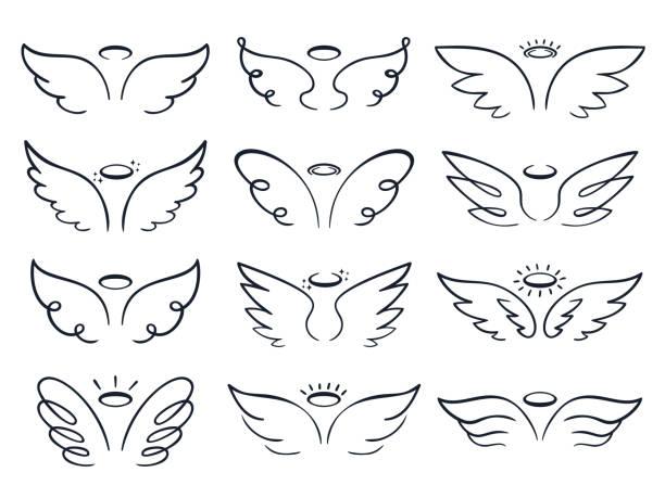 stockillustraties, clipart, cartoons en iconen met cartoon sketch wing. hand getrokken angels wings spread, gevleugelde icoon doodle vector illustratie set - engel