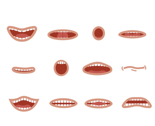 cartoon skin color mouths set. smile. funny cartoon mouth set with different expressions. smile with teeth, sticking out tongue, surprised. cartoon talking mouth and lips expressions vector animation - toothy smile stock illustrations