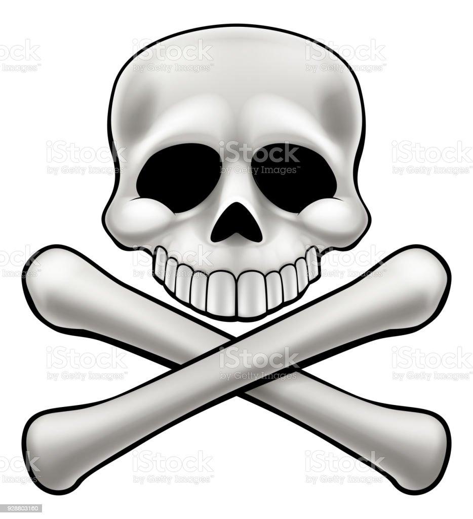 Cartoon Skull and Crossbones Jolly Roger vector art illustration