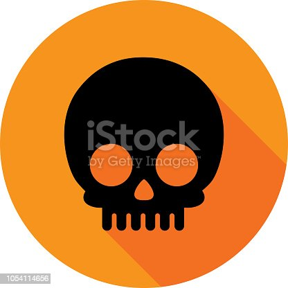Vector illustration of a black skull icon against an orange background in flat style.