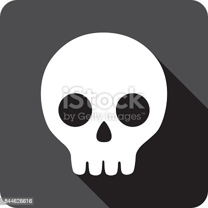 Vector illustration of a black cartoon skull icon in flat style.