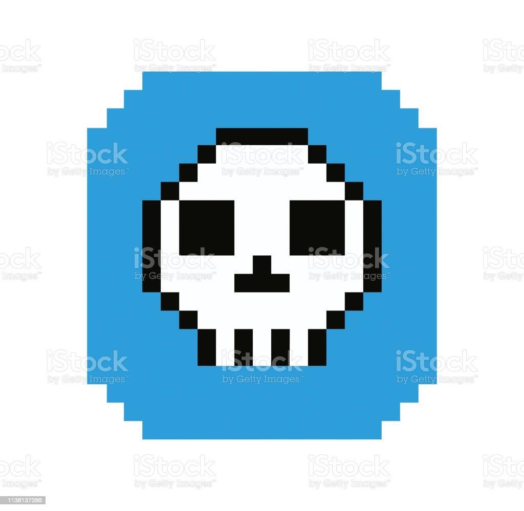 Style De Pixel De Crâne De Dessin Animé Vecteurs Libres De