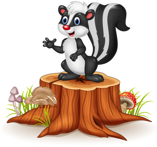 Cartoon skunk posing on tree stump Illustration of Cartoon skunk posing on tree stump skunk stock illustrations