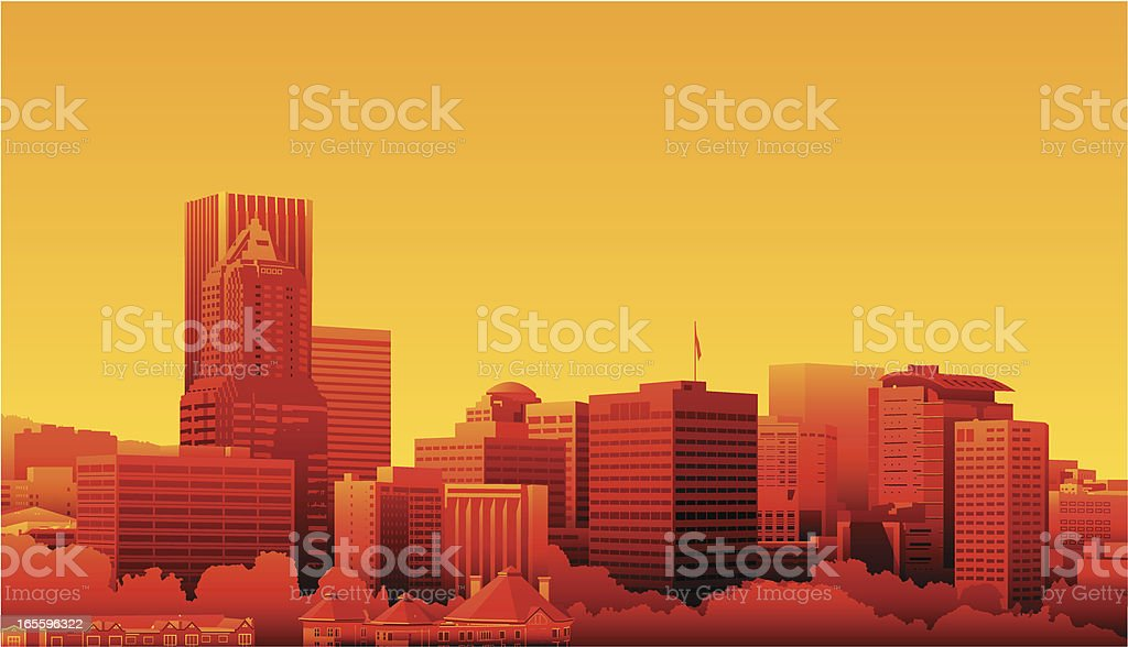 Cartoon Skyline of Portland, Oregon in Sunset Colors royalty-free stock vector art