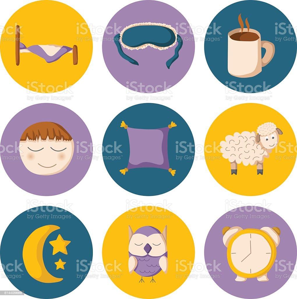 Iconos de dibujos animados de descanso - ilustración de arte vectorial