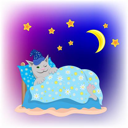cartoon sleeping cat in bed