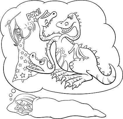 cartoon sleeping girl dreaming about defeating the dragon color book page