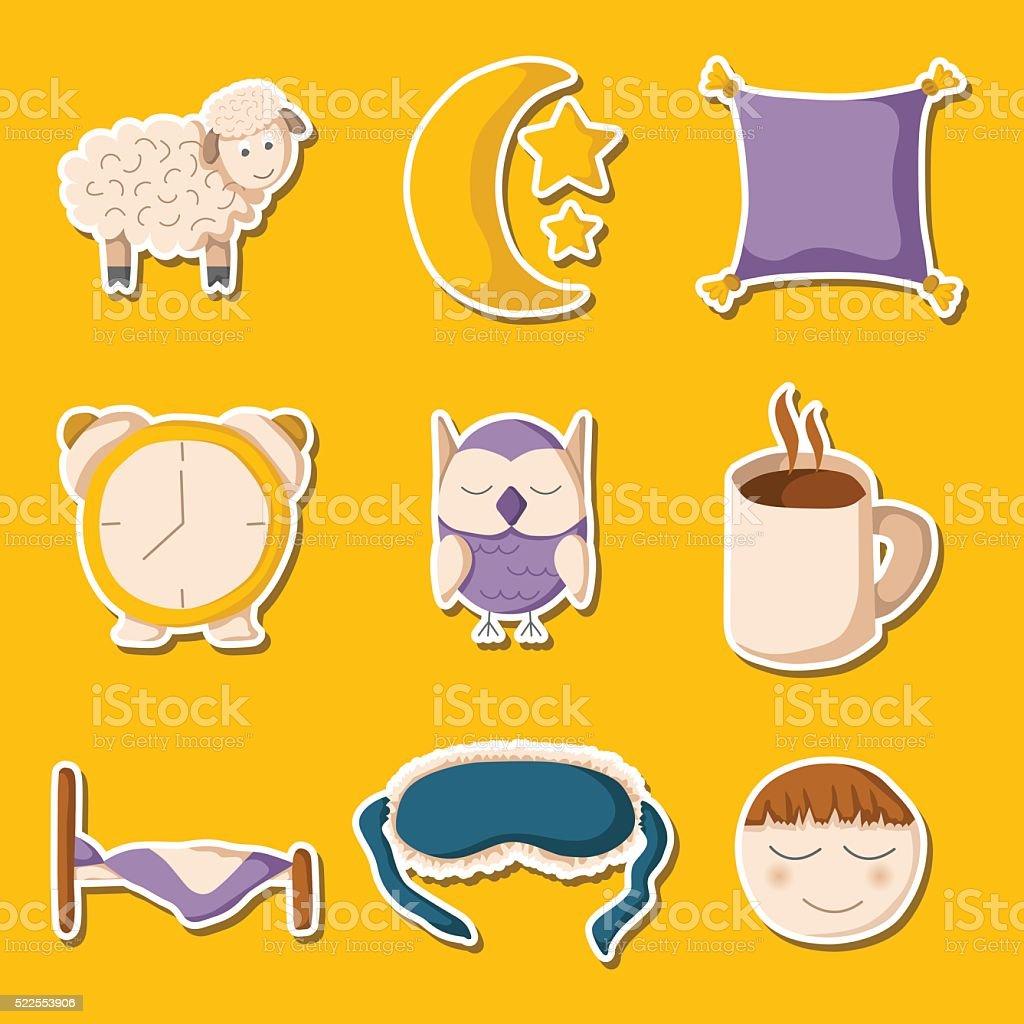Iconos de dibujos animados dormitorio - ilustración de arte vectorial