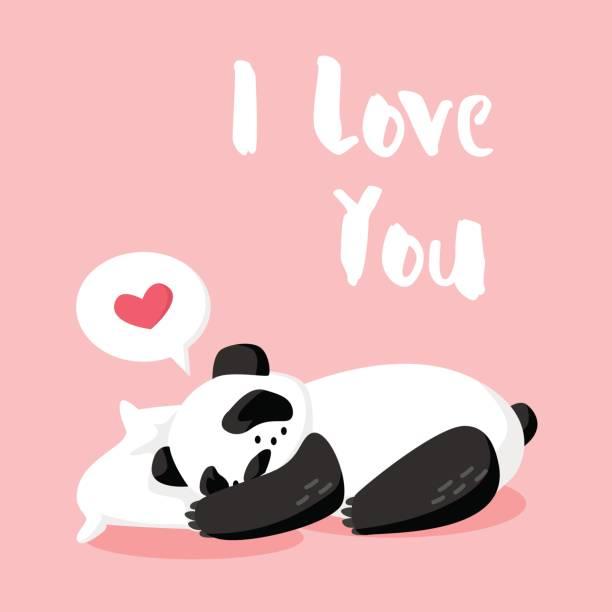 cartoon sleeping panda on the pillow on pink background. - herzkissen stock-grafiken, -clipart, -cartoons und -symbole