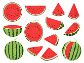 Cartoon slice watermelon. Green striped berry with red pulp and brown bones, cut and chopped fruit, half and sliced on white background