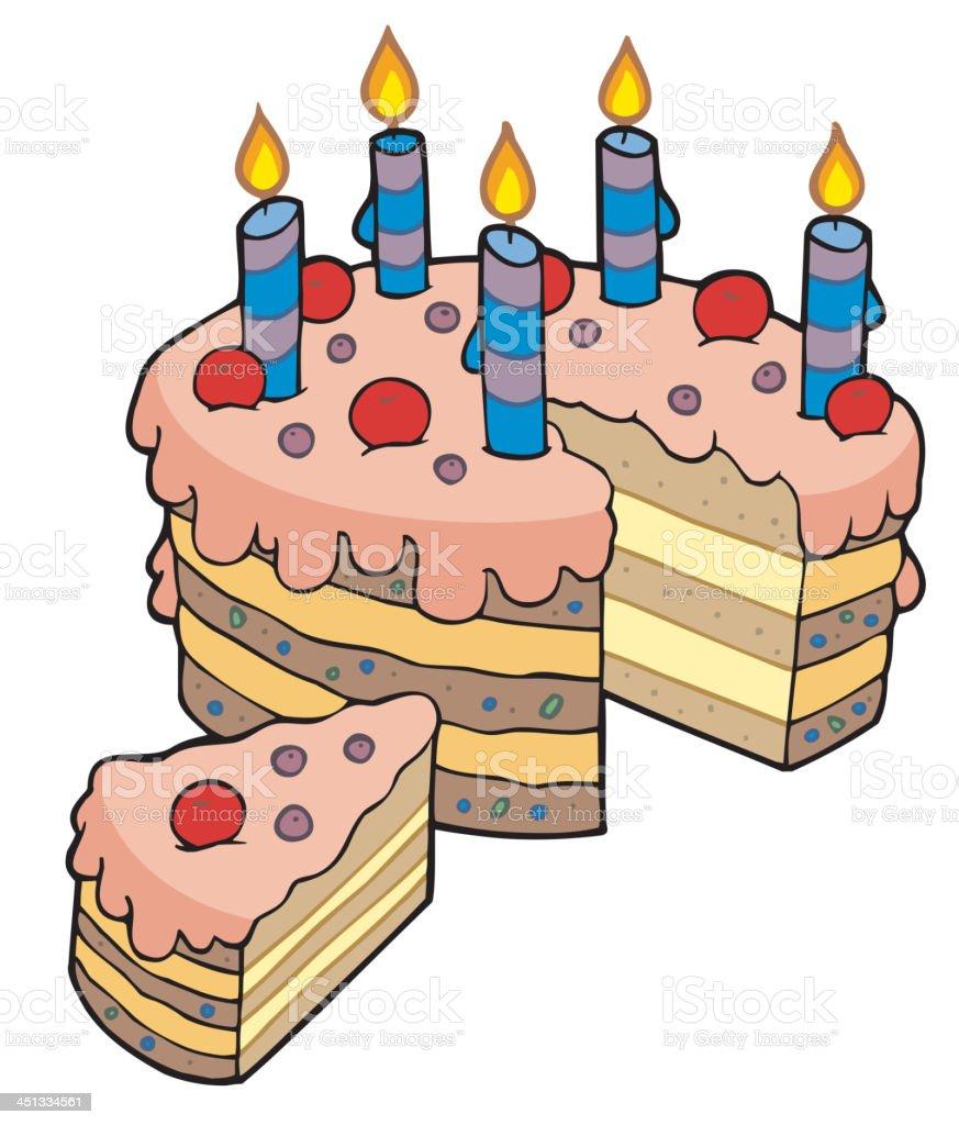 カットイラストスライスのバースデーケーキ お祝いのベクターアート