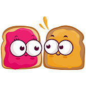 Slices of bread characters with peanut butter and jelly. Vector Illustration