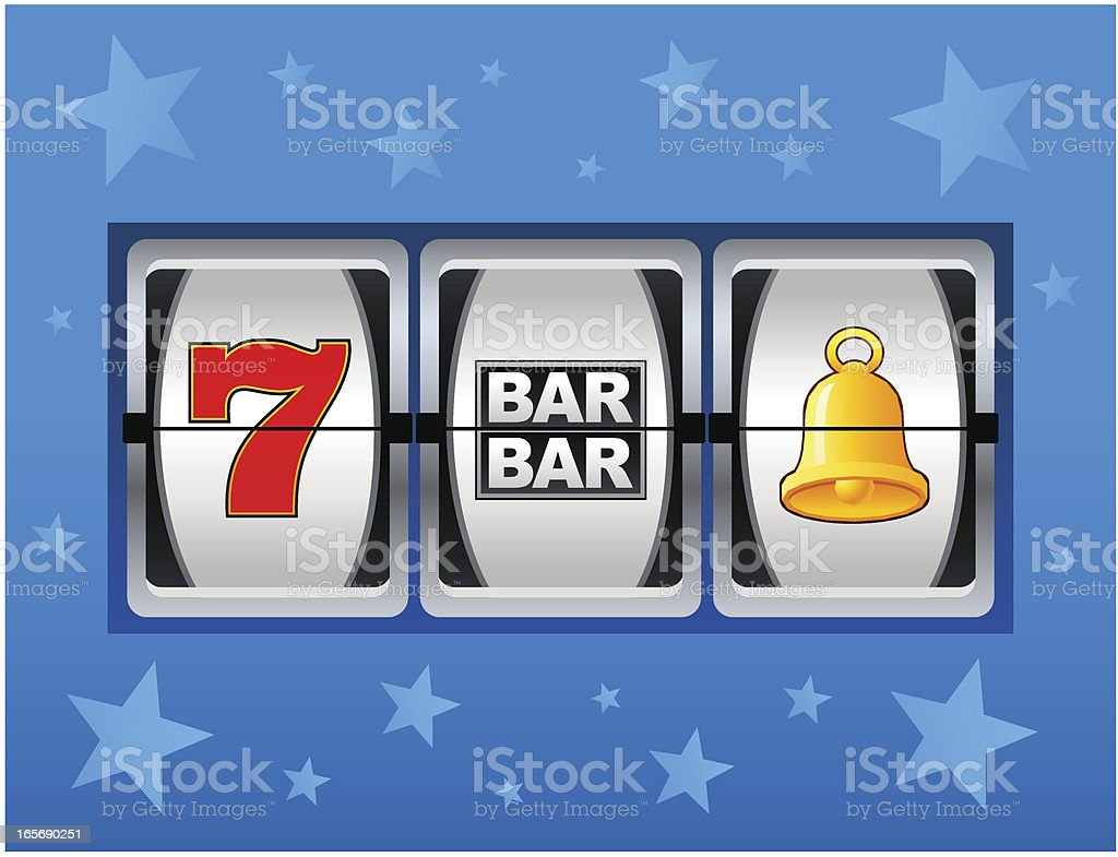 Cartoon slot machine window face vector art illustration