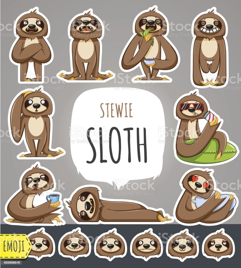 Cartoon Sloth Character. Emoticon Stickers vector art illustration