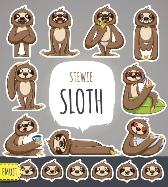 Cartoon Sloth Character. Emoticon Stickers vector art illustration