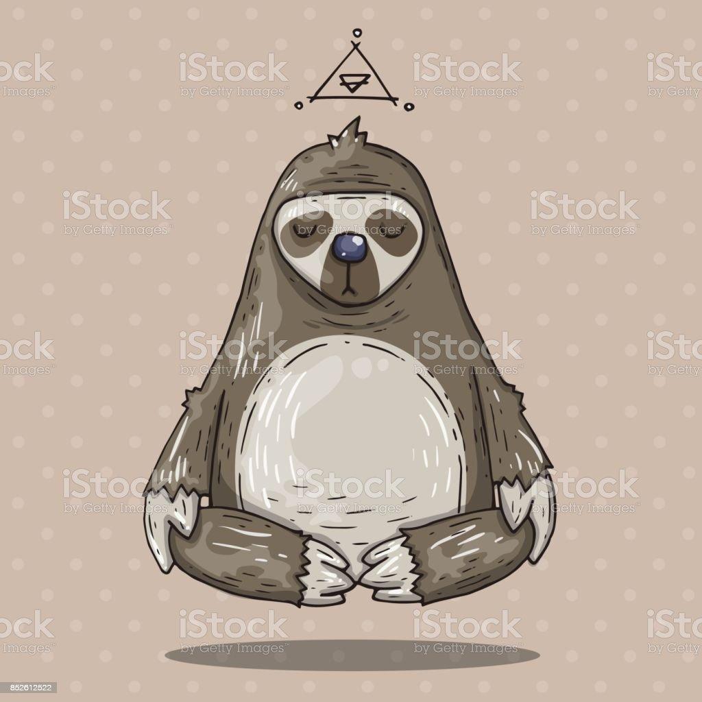 Cartoon sloth meditates. Cartoon illustration in comic trendy style vector art illustration