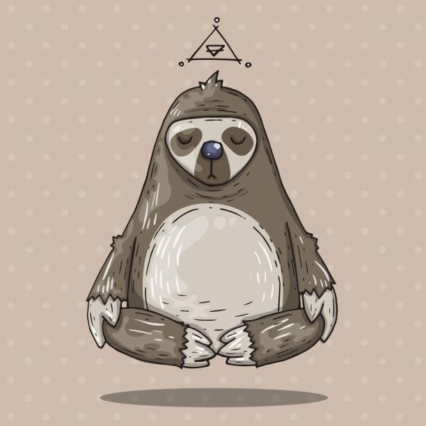 Cartoon sloth meditates. Cartoon illustration in comic trendy style Cartoon illustration in comic trendy style. Illustration for web and print. baby sloth stock illustrations