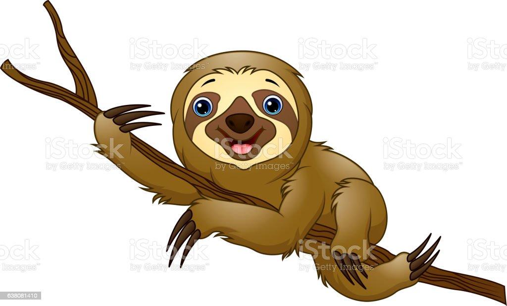 Cartoon sloth on a tree branch vector art illustration