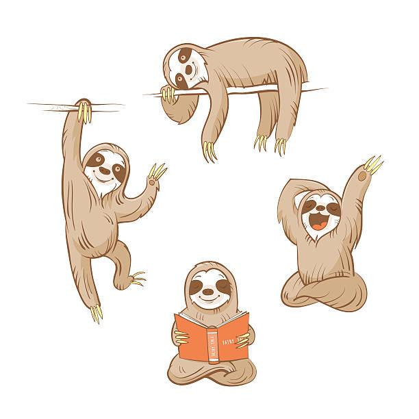 Cartoon sloths set. vector art illustration