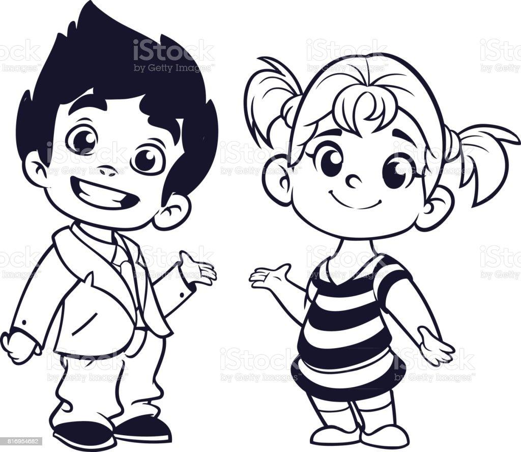 Vetores De Desenhos Animados Pequeno Menino E Menina Delineadas