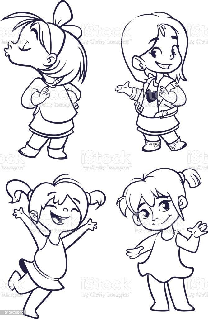 Ilustración de Conjunto De Pequeñas Muchachas De Dibujos Animados ...