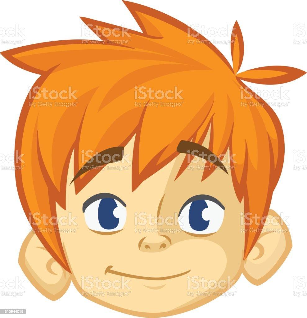Garçon De Dessin Animé De Petits Cheveux Roux Blond
