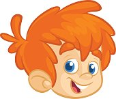 Cartoon small red hair blond boy. Vector illustration of young teenager outlined. Boy head icon outlined