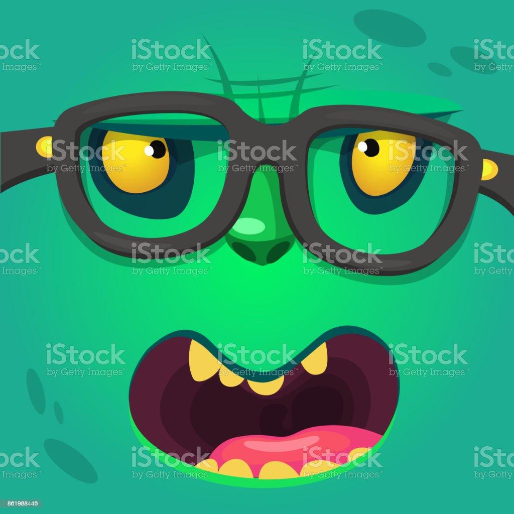 漫画スマート ゾンビのメガネを着用します。毛皮のようなグリーン モンスターのベクトル イラスト ベクターアートイラスト