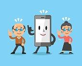 Cartoon smartphone and senior people
