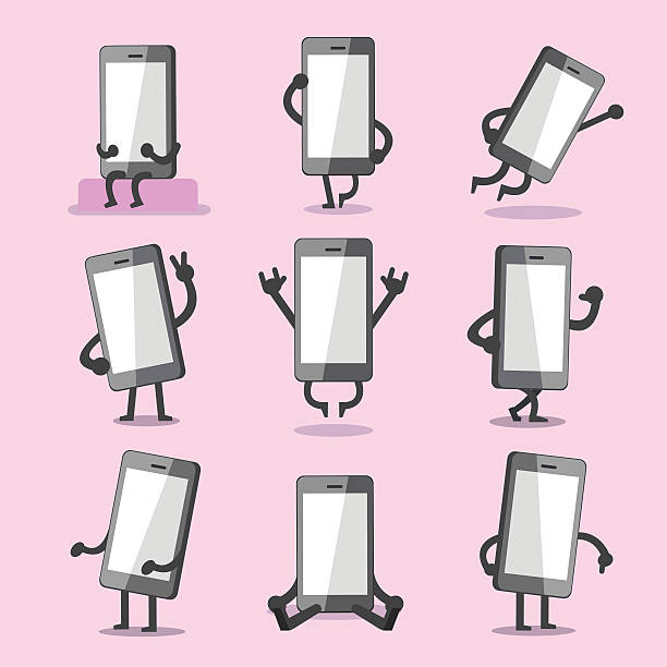 Cartoon smartphone character poses collection – Vektorgrafik