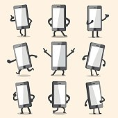 Cartoon smartphone character poses