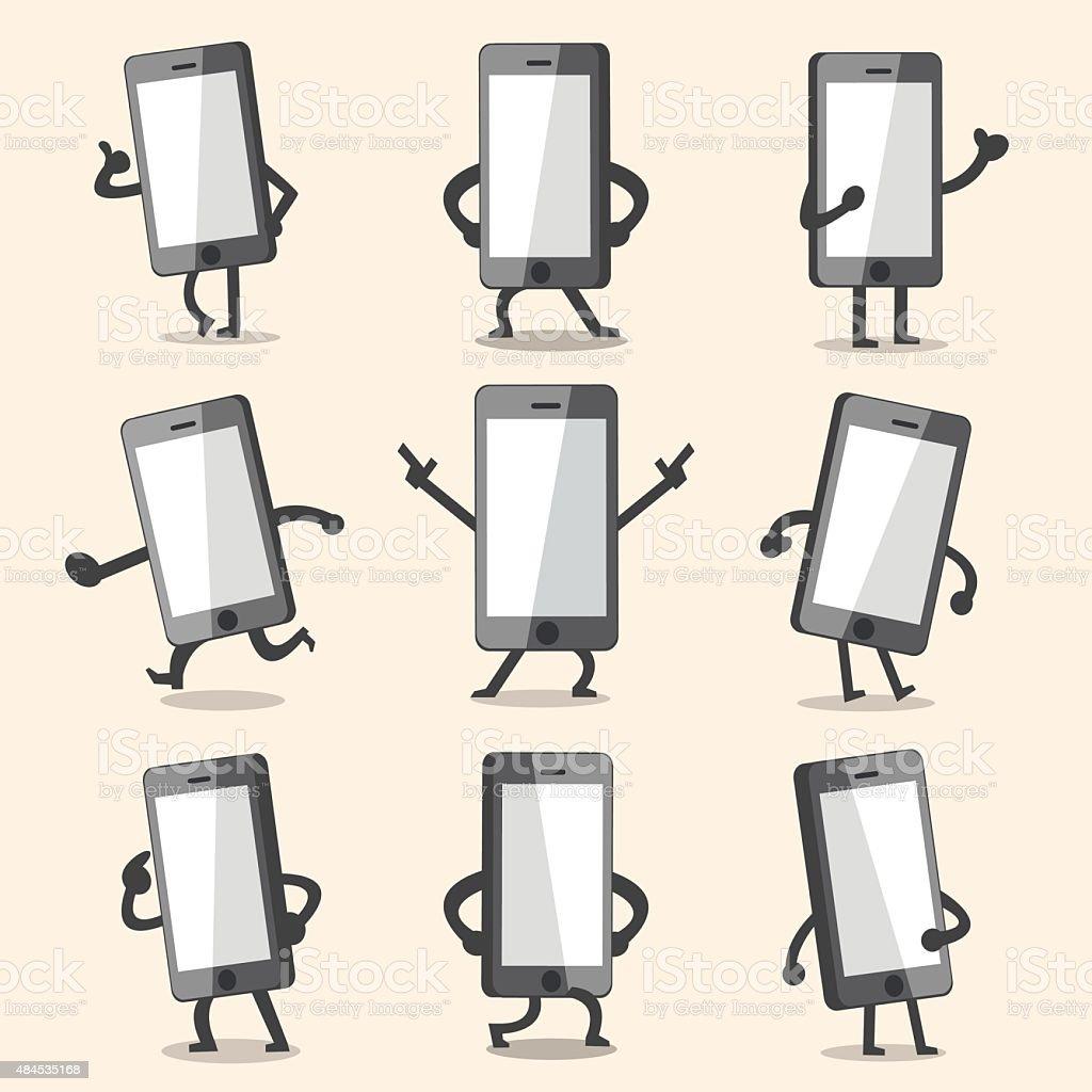 Personnage de dessin animé poses smartphone - Illustration vectorielle