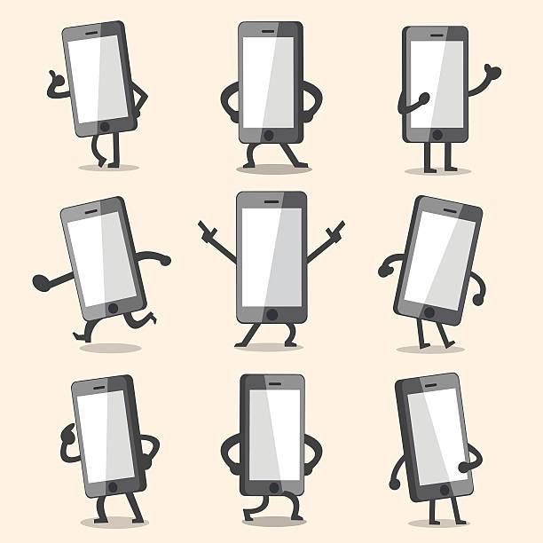 Cartoon smartphone character poses vector art illustration