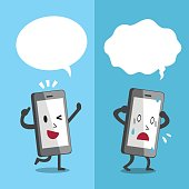 Cartoon smartphone expressing different emotions with white speech bubbles