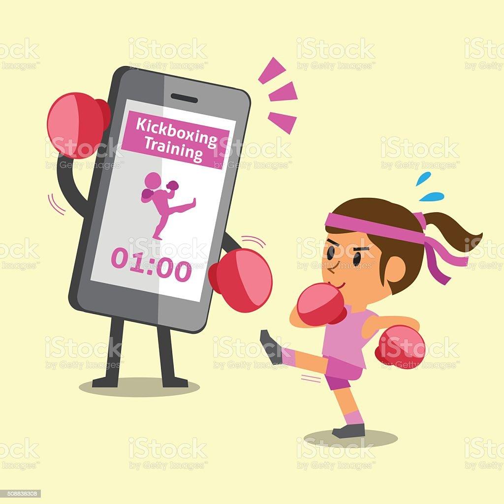Comic Smartphone Helfen Einer Frau Zu Tun Ausbildung Kickboxen Stock ...