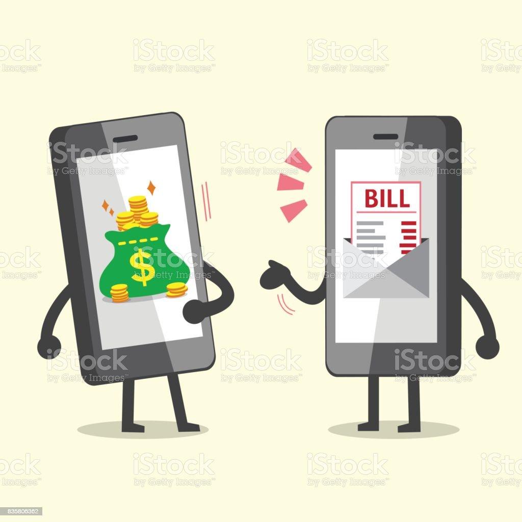 Cartoonsmartphone Mit Elektronische Rechnung Zahlung