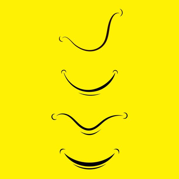 Cartoon Smile Logo Isolated on Yellow Background vector art illustration