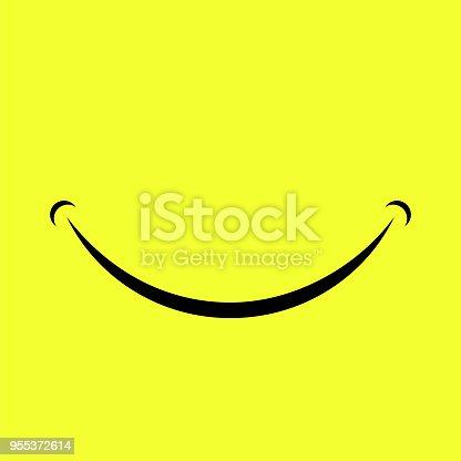 Cartoon Smile Logo Isolated on Yellow Background