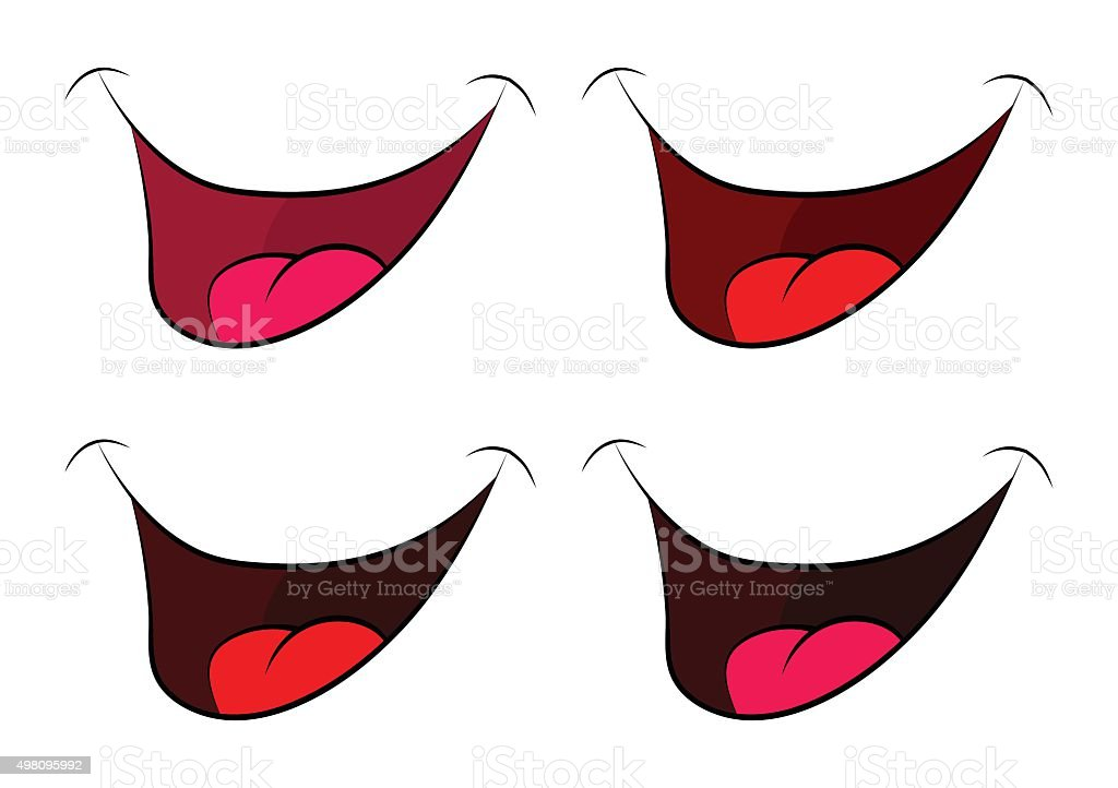 Cartoon smile set, mouth, lips with teeth and tongue. vector art illustration