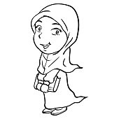 Cartoon Smiley Muslim Girl Holding book-Vector drawn