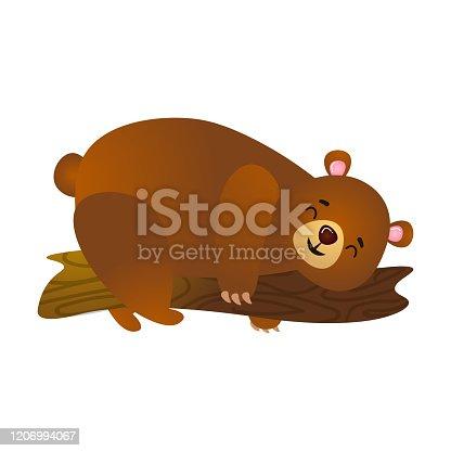 istock Cartoon smiling brown bear sleep on branch on tree 1206994067