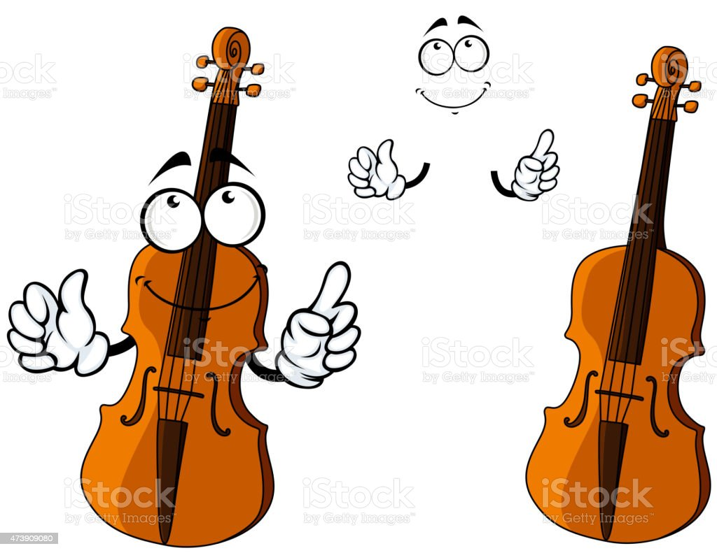 Cartoon Violin Images: Cartoon Smiling Brown Violin Character Stock Vector Art