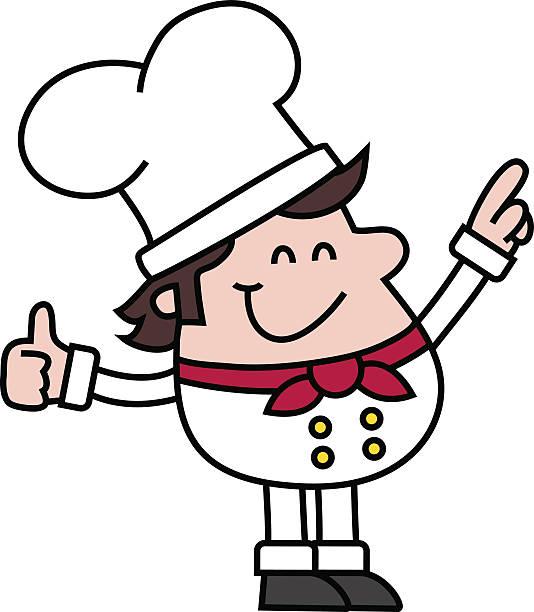 comic/lächelnd chef punkte, um etwas - desmond koch stock-grafiken, -clipart, -cartoons und -symbole