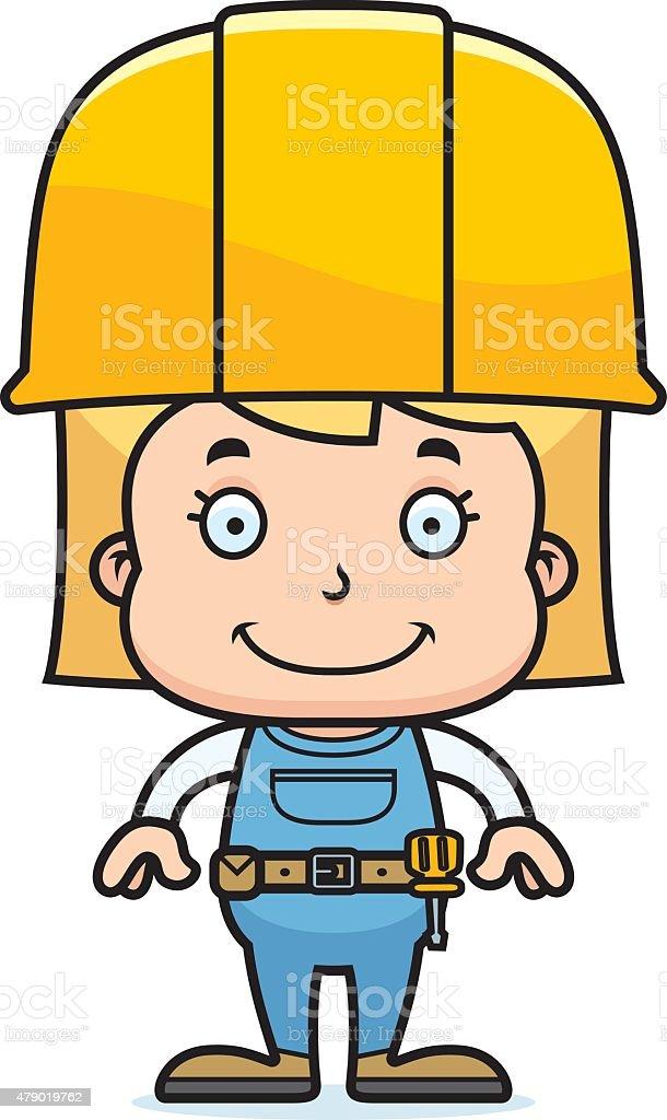 Cartoon Smiling Construction Worker Girl Stock Vector Art More