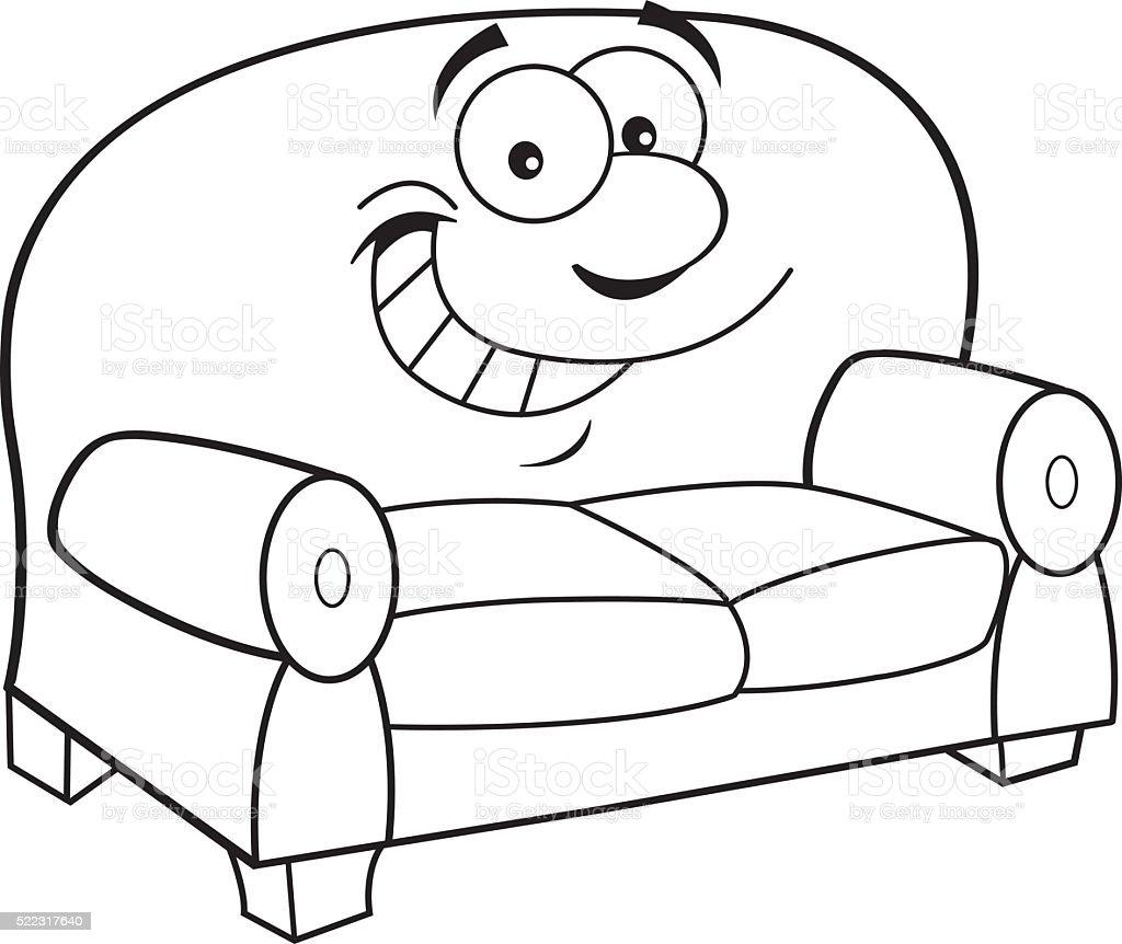 dessin animé souriant canapé – cliparts vectoriels et plus d'images